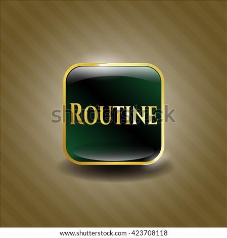 Routine golden emblem or badge