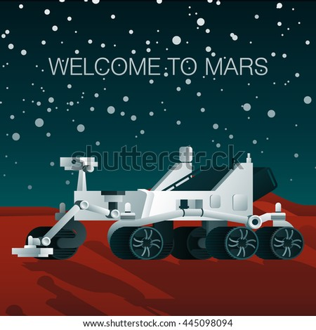 rover standing on mars  behind