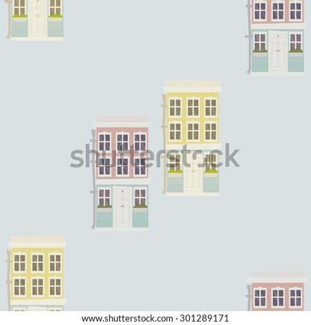 Row house buildings patterns set in cute pastel colors