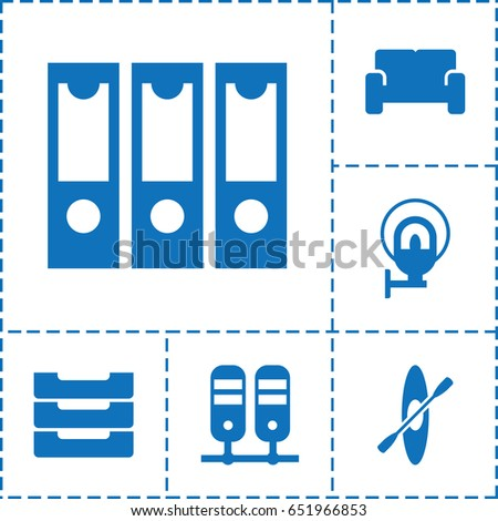 row icon set of 6 row filled