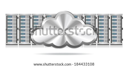 Row Network Servers with Cloud Icon - Information technology conceptual image
