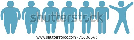 Row of before and after fat to fitness weight loss symbol people Foto stock ©