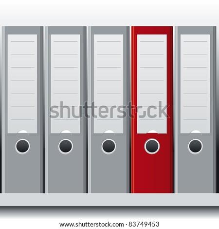 row of binders - stock vector