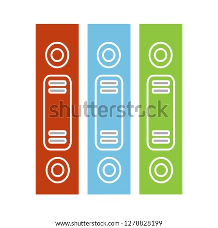 Row of binders flat icon-education sign-bookshelf illustration-learn illustration