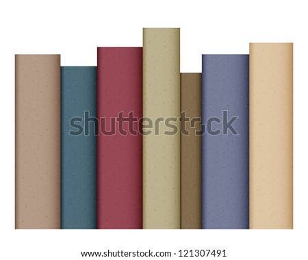Row of books isolated on white. EPS10 vector.