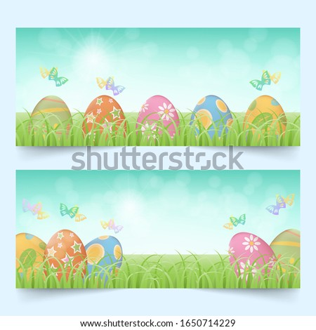 row of colorful easter eggs