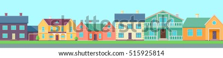 Row of different houses along the street. Home house in flat design style. Street of large suburban homes. Colorful residential hous. Home, building, house exterior, family house, modern house