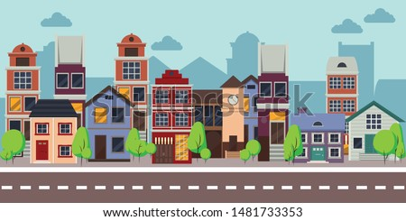 Row of different houses along the street. Spring street. Colorful residential house. Home, building, house exterior, family house, modern house. Flat style vector illustration