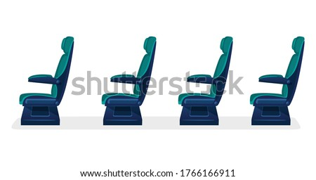 Row of empty passenger seats for public transport on white background. Aisle with business class, first class or economy seats concept for airplane, train or bus. blue color. Foto stock ©