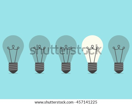 Row of five lightbulbs with one burning on blue background. Inspiration, discovery, idea and insight concept. Flat design. Vector illustration. EPS 8, no transparency