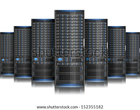 Row of network servers.