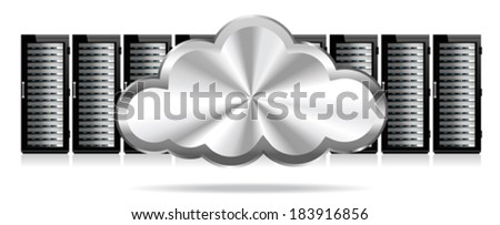Row of Network Servers with Cloud - Information technology conceptual image