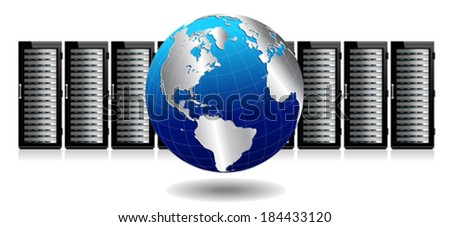 Row of Network Servers with Globe Icon - conceptual image - Elements of this image furnished by NASA the base map of the Globe is Hand Drawn using the pen tool with a tablet pen for maximum detail