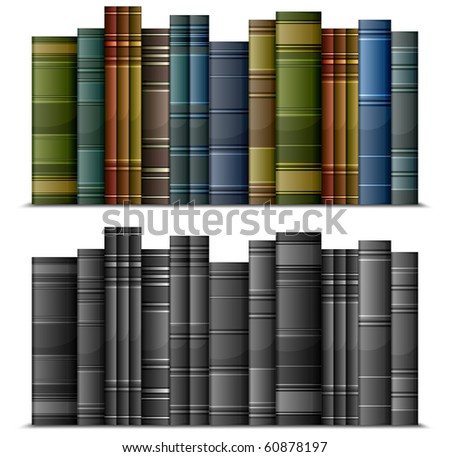 Row of old vintage books isolated on white, vector illustration