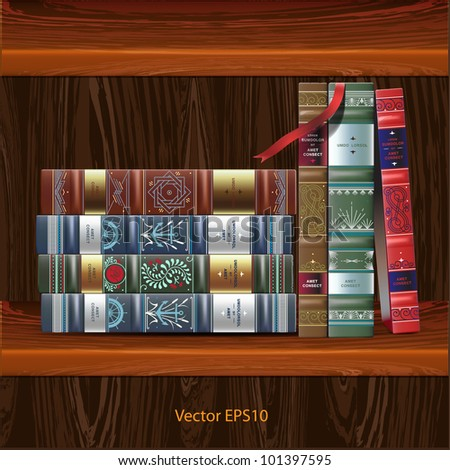 Row of ornamented vintage books, isolated on wood background, vector Eps 10.