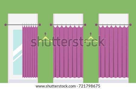 Row of vacant fitting rooms in a clothing shop, one fitting room with open curtain and mirror inside. Cabins for trying on clothes in a shopping mall. Vector illustration.