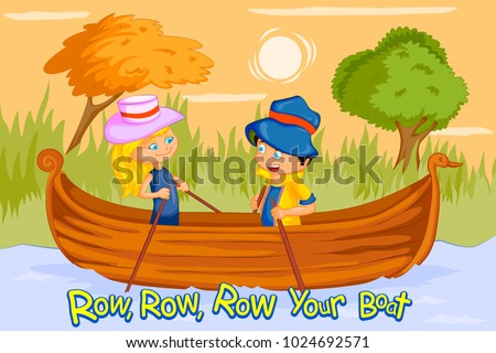Row Row Row Your Boat, Kids English Nursery Rhymes book illustration in vector Stock photo ©