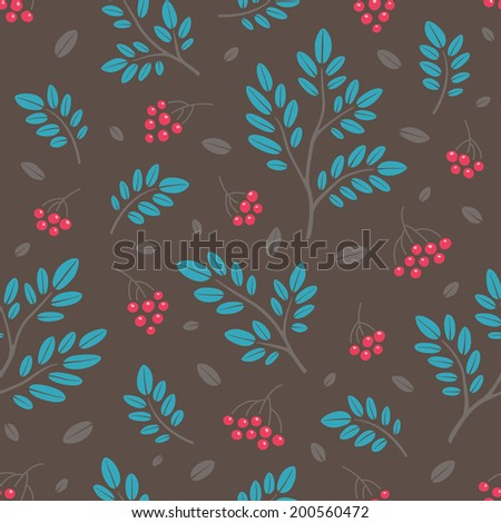 Rowan berry and branches seamless pattern on dark background