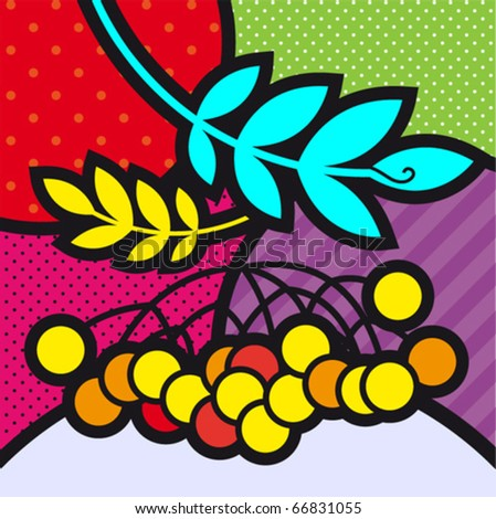 rowan pop-art fruits vector illustration for design
