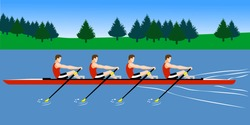 Rowing boat team training before the competition