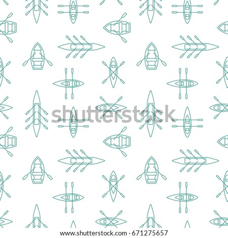 Rowing boats silhouettes seamless pattern with linear outline icons. Sailing boat background design for wrapping paper, paper packaging, textile, party invitations, greeting card. Vector illustration.