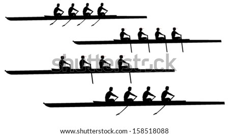 Crew rowing boat clipart