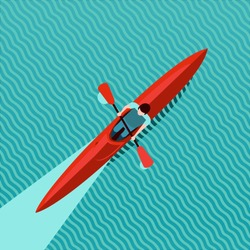 Rowing man. Top view of kayak boat. Canoe race vector illustration, flat style. Water sport background.