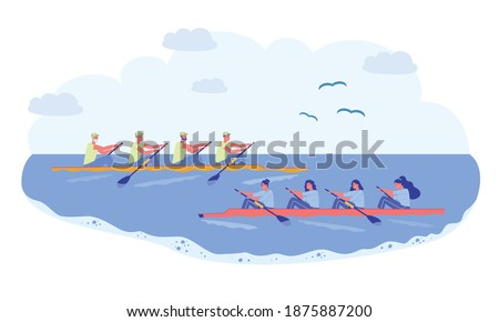 Rowing Sport Team, Competition in Natural Pond. Two Long Boat Sail Past each other, Team Men and Women. Athlete in Sportswear Rowing Oar, Apply Hand Strength. Bird Fly over Clean Water. ストックフォト ©