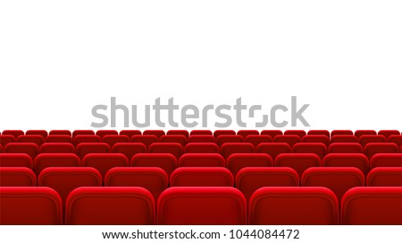Rows of red seats, back view. Empty seats in the cinema hall, cinema, theater, opera, events, shows. Interior element. Vector realistic 3d illustration.
