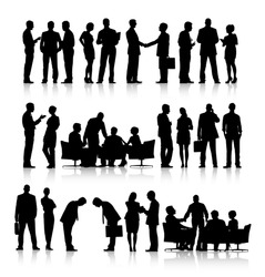 Rows of silhouettes of business people working in a white background.