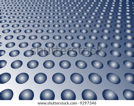 Rows of Spheres set in holes in a metal plate form an abstract background.