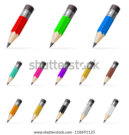 Rows of standing small color pencils isolated on white background