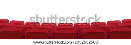 Rows of theater movie or cinema seats isolated on white. Vector blank screen, red velvet chairs in conference hall, opera or auditorium. Premier showtime comfortable seating, entertainment performance Foto stock ©
