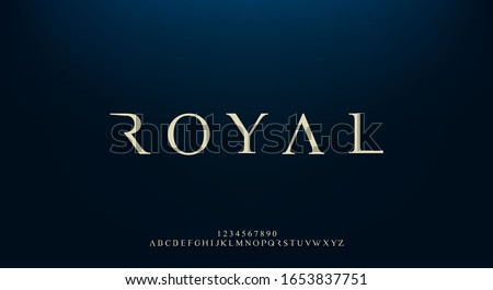Royal, an elegant alphabet font and number. Premium uppercase fashion Design typography. vector illustration