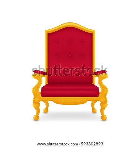 Royal armchair of gold. Red throne. Isolated on white background.