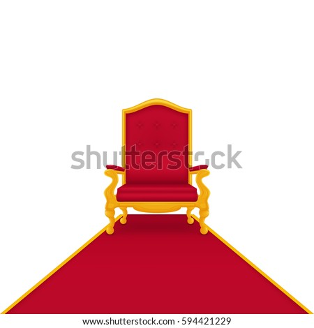 Royal armchair of gold. Red throne, isolated on white background. Red carpet.
