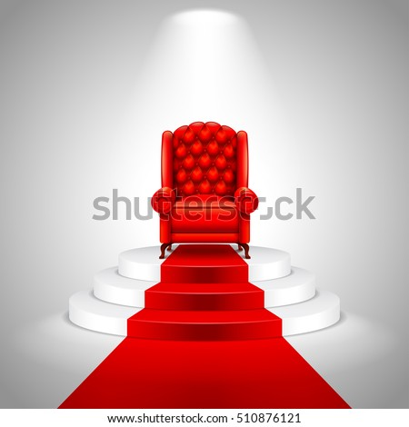 royal armchair on stairs with