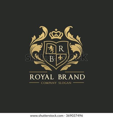royal brand logo crown logo lion logo crest logo vector logo template 369037496 shutterstock. Black Bedroom Furniture Sets. Home Design Ideas