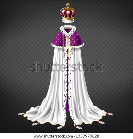 Royal ceremonial garment realistic vector with queen, king golden crown decorated gems, white cape and purple mantle with ermine fur and golden cord illustration isolated on transparent background