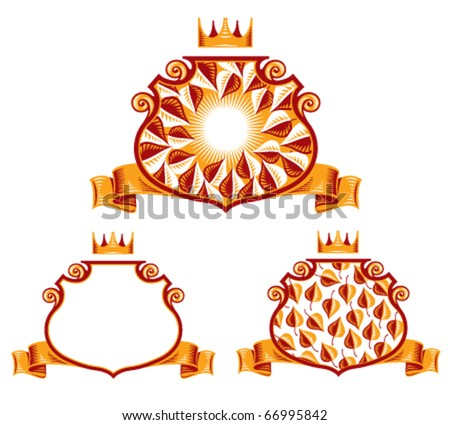 Royal Symbols http://www.shutterstock.com/pic-66995842/stock-vector-royal-classic-emblems-shield-ribbon-and-crown-heraldic-symbols-leaves-and-sun-rays-nature-eco.html