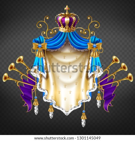 Royal coat of arms 3d realistic vector isolated on transparent background. Medieval ruler, king or emperor heraldic emblem with precious crown on mantle of blue silk and golden bugles illustration