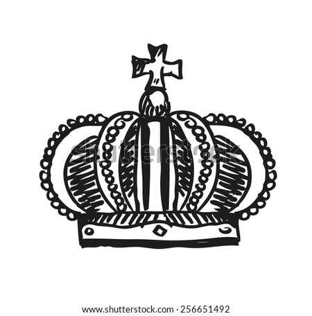 royal crown doodle hand sketch