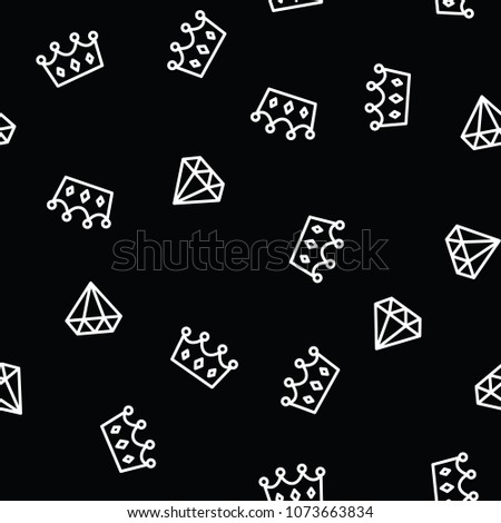 Royal crown for king or queen and diamond outline on black background. Crown and brilliant on seamless pattern background