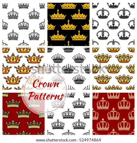 royal crown patterns set
