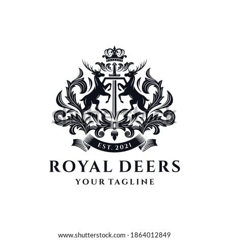 Royal Deer Crest Logo Template Сток-фото ©