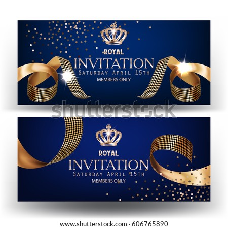 royal design banners with gold