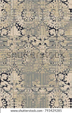 Royal designed vector grunge texture or background , wallpaper incredible colors  modern damask seamless grunge pattern. Graphic damask modern pattern.