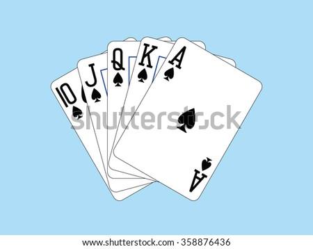 royal flush of spades vector