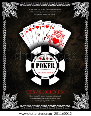 Royal flush playing cards poker hand in hearts Vector background Poker and casino label Texas holdem All-in