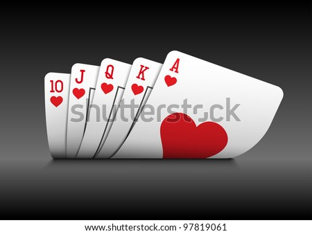 Royal flush playing cards poker hand on black background.